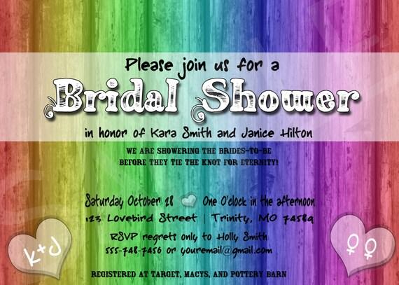 ... Bridal Shower Invitation - Lesbian Brides, Two Brides, Lesbian Wedding