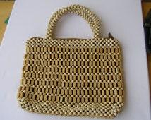 Vintage bag.  Beaded wood bag