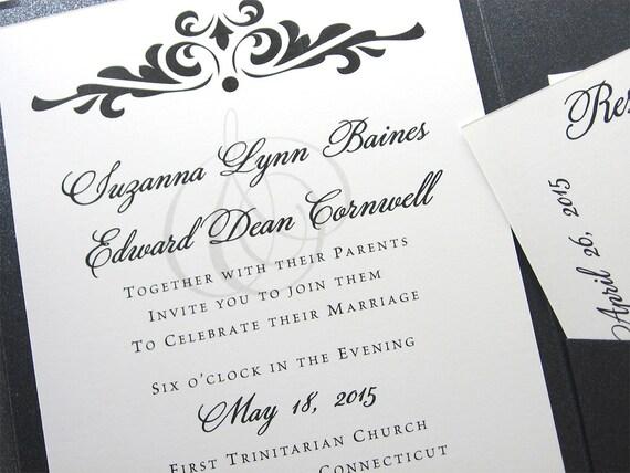 Traditional Elegant Wedding Invitations: Elegant Wedding Invitation Black And White Classic Damask