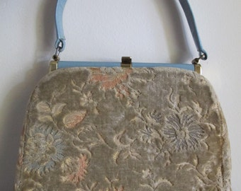 60s Carpet Handbag / 1960s Carpet Purse