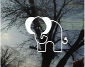 Vinyl Car Window Decal - A Single Baby Elephant 2.25 inches high...FREE Pink Bows or Blue Caps