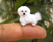 Bichon Frise - Tiny Crochet Miniature Dog Stuffed Animals - Made To Order