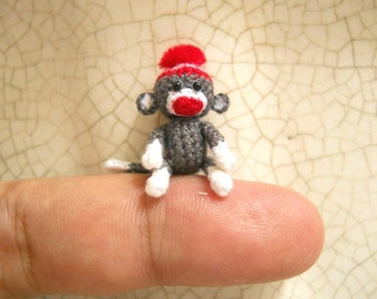 1 Inch Sock Monkey Pom Pom - Micro Mini Amigurumi Crochet Miniature Monkey - Made To Order