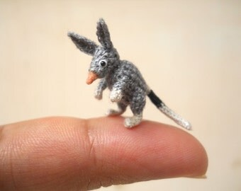 Micro Mini Bilby Amigurumi - Miniature Crochet Mouse Stuffed Animals - Made To Order