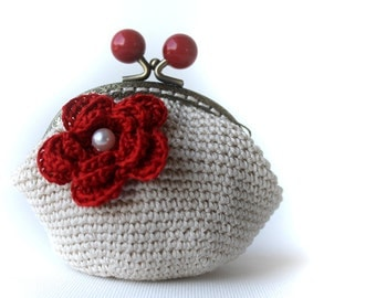 Coin Purse - Cherry Red Coin Purse - crochet coin purse