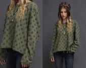 Dusty Green Sweatshirt with Frayed Pom Pom Pattern
