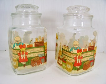 Vintage Storage Jars Glass Canisters Apothecary Jars Country Store Decals