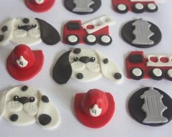 12 fondant cupcake toppers--fire engine, fire hydrants, Dalmatians, helmets