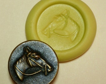 Antique button mold-  Horse head, flat, flexible silicone push mold, PMC, Art Clay Silver, fimo, Sculpey, jewelry mold H2