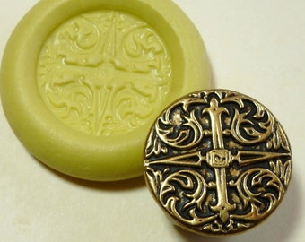 Antique button mold- Cross, flexible silicone push mold, PMC, Art Clay Silver, fimo, Sculpey, jewelry mold Q3