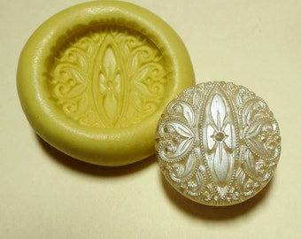 Antique button mold- Decorative pattern, flexible silicone push mold, PMC, Art Clay Silver, fimo, Sculpey, jewelry mold W11
