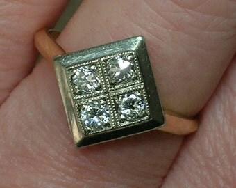 Soviet Diamond Ring: 583 Rose & White Gold, Square Top. Yakut Diamonds