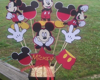 12 piece Disney Mickey Mouse Table Centerpiece with Glitter Bucket