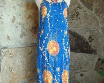 90s ETHNIC TRIBAL DRESS vintage maxi strappy sundress xs