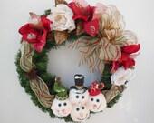Snowmen Wreath - Christmas Wreath - 16 inch -  Evergreen Wreath - Snowmen, Roses, Amaryllis Flowers, Pinecones, Ribbon - Red and Green