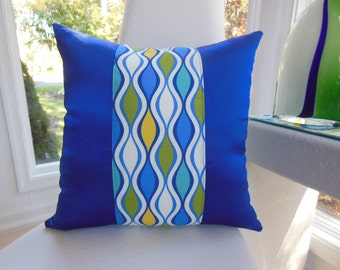 Royal Blue Pillow - Yellow Green Aqua Designer Pillow - Marine Sun Baja Ogee Pillow - 18 x 18 Inch Reversible Pillow - Royal Blue Pillow