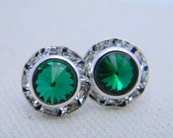 Emerald Green Stud Earrings, 11 mm Swarovski Rivoli Stud Earrings, Rhinestone Earrings, Wedding Earrings, Crystsal Studs, Vintage Earrings