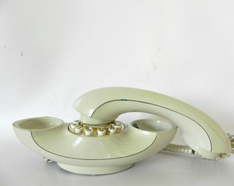 French Vintage phone, push button ivory mod space princess phone 1960s