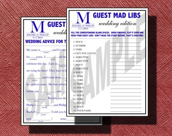 Weddings Mad Libs With Matching Directions Page