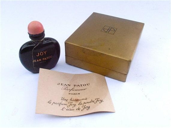 Vintage Joy Perfume Jean Patou Fragrance Art Deco Black Miniature Bottle Mini Opaque Glass Collectible French Vintage 60s Perfume