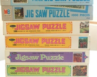 Vintage Jigsaw Puzzle Unopened NOS Sealed Box 1000 Pieces - 1960s Whitman 60s Milton Bradley Big Ben Landscapes Around the World