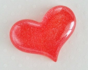 1pc - LL Red Glittery Heart Decoden Cabochon (49x38mm) HRM10007