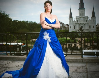 Blue Wedding Dress With White And Lace Custom Made In Your Size