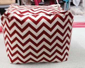 Red and White Chevron Ottoman Pouf Cover Teen Room, Living Room Nursery Room Filling Included
