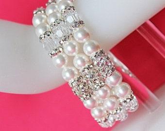 Jacqueline Rhinestone Wedding Bracelet, Crystal and Swarovski Pearl Bridal Bracelet, Chunky White Pearl Bracelet