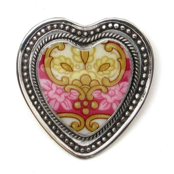 Broken China Jewelry Royal Albert Lady Carlyle Pink Scroll Crest Heart Sterling Heart Brooch Pin Pendant