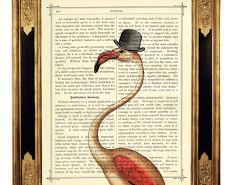 Pink Flamingo Dictionary Art Print Bowler Hat Steampunk Gentleman - Vintage Victorian Book Page Art Print Poster Bird Wall Decoration