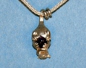 Baby Possum Pendant with an Amethyst Plum in Sterling and 18kt