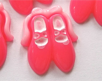 Pink Ballet Shoes Resin Cabochons Embellishment Lot of 2