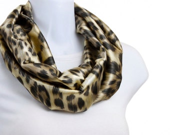 Silky Infinity Scarf - Rich Leopard Print Brown and Gold ~ SK154-S5