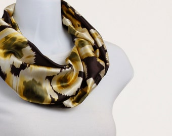 Silky Infinity Scarf -  Brown, Bronze, Yellow and Sage Abstract Floral ~ SK181-S5