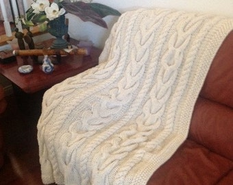 Ready-Made Knit Afghan---V CABLES in CREAM