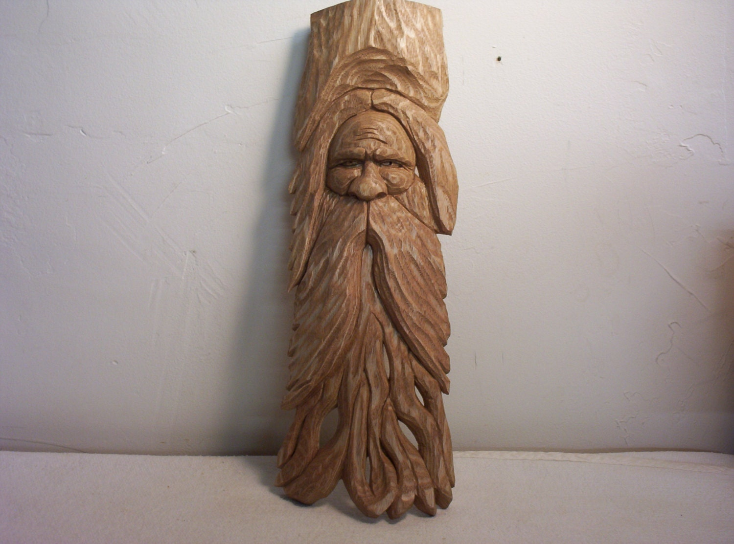 Hand carved wood spirit carving rustic log cabin decor