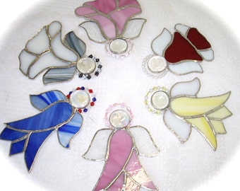 Angels stained glass suncatcher angels gift tags package tree decoration