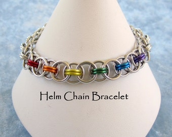 Rainbow LGBT Helm Chain Bracelet - Gay Pride Jewelry - Anodized Aluminum Chainmaille