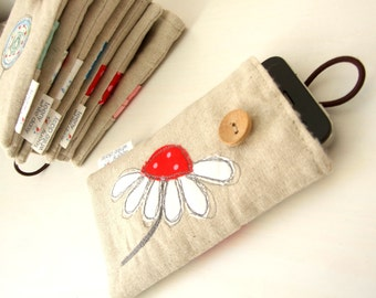 Embroidered white daisy flower and linen smartphone/ iphone / gadget case