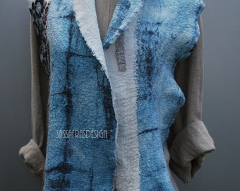 Extravagant hand felted shibori summer scarf with stunning surface OOAK statement accessory