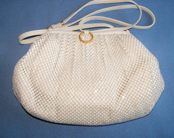 Vintage Mesh Purse Whiting and Davis Handbag Off White Wedding Bridal Party Prom Gift