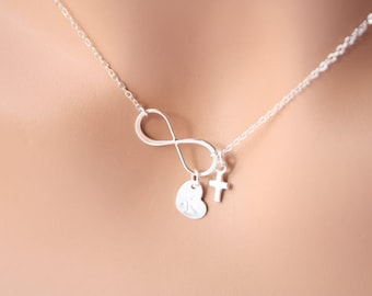 Lover's Infinity with initial heart and cute tiny cross necklace - STERLING SILVER - birth day gift ,Mother's Day ,friendship, wedding gifts