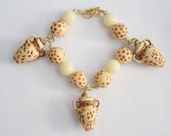 75% OFF SALE - Vintage White And Brown Beaded Vase Urn Charm Bracelet