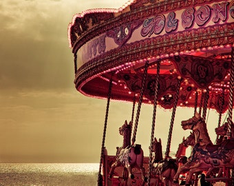 Carousel photography, Merry go round art print, large photography - On Brighton Beach