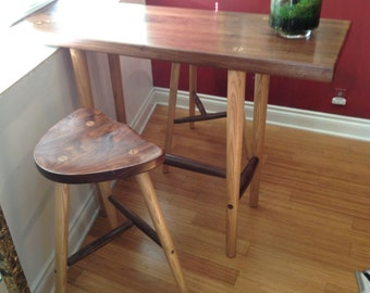Table and stools in Walnut and Ash.