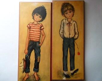 1960s Jolylle wide eyed art   vintage children's art on wooden panels   signed   Big Eyes art   big eyed children art   wide eyed children