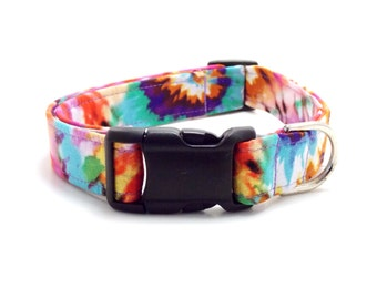Tie Dyed Dog Collar and Leash, Hippy Dog Collar, Tie Dye Dog Collar, Tie Dye, Hippie Collar, Colorful Dog Collar, Tie Dyed Leash