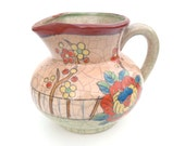 Vintage Crackle Glaze Pitcher: Made in Japan Hand Painted Flower Design, Intense Colors Red Orange Blue Green Yellow Blue, Art Pottery 1950s