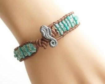 Seahorse Leather Bracelet Beach Bracelet Friendship Bracelet Beaded Bracelet Leather Wrap Bracelet Boho Mermaid Nautical Bracelet Jewelry